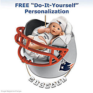 """Personalized """"Patriots Fan"""" Baby's First Christmas Ornament"""