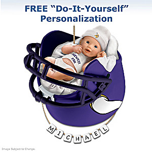 "Personalized ""Vikings Fan"" Baby's First Christmas Ornament"