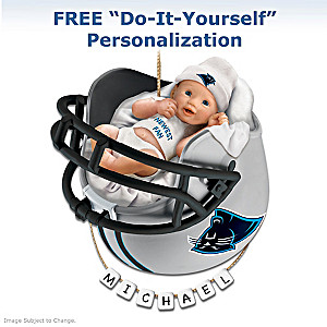 "Personalized ""Panthers Fan"" Baby's First Christmas Ornament"