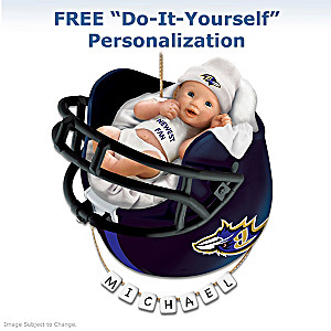 "Personalized ""Ravens Fan"" Baby's 1st Christmas Ornament"