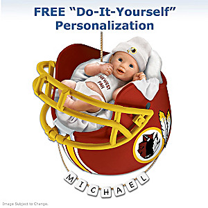 "Personalized ""Redskins Fan"" Baby's First Christmas Ornament"