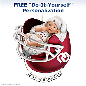 "Personalized ""Sooners Fan"" Baby's First Christmas Ornament"