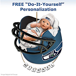 "Personalized ""Seahawks Fan"" Baby's First Christmas Ornament"