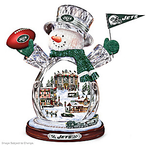 New York Jets Crystal Snowman With Moving Train