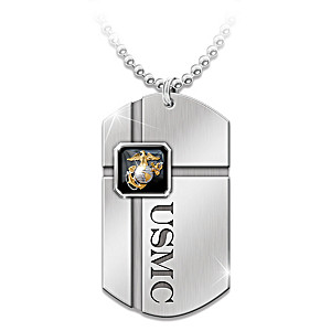 USMC Dog Tag Pendant Necklace For Marines