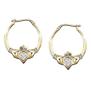 Irish Claddagh Earrings With Swarovski Crystals