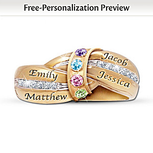 """A Mother's Embrace"" Engraved Personalized Birthstone Ring"