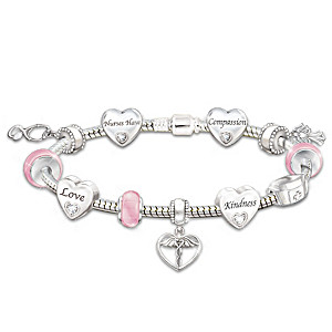 Nurse Charm Bracelet With 11 Charms And Swarovski Crystals