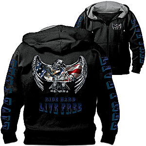 """Open Road"" Biker Hoodie With Custom Art And Motto"