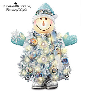 Thomas Kinkade Pre-Lit Snowman Tree With Ornaments