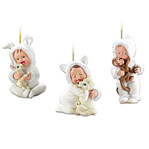 Sherry Rawn Art Wintry Babies With Animals Ornaments
