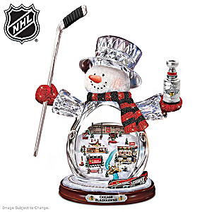 Chicago Blackhawks® Crystal Snowman With Moving Train