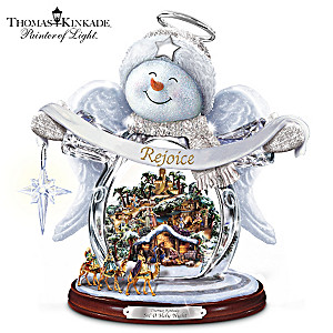 Thomas Kinkade Crystal Snow Angel With Nativity Scene