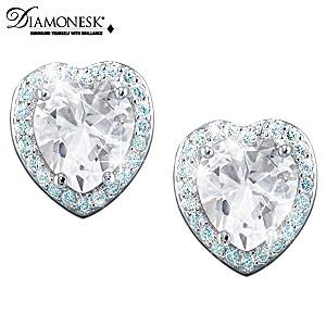 Classic Heart-Shaped Diamonesk Earrings For Daughter