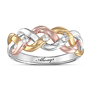 Three-Cord Tri-Color Diamond Couples Ring