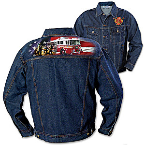Embroidered Firefighter Denim Jacket With Full-Color Image