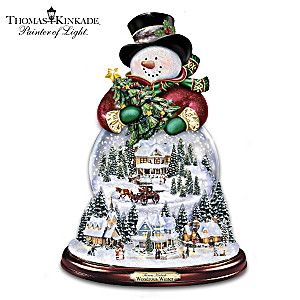 Thomas Kinkade Musical Snowman Snowglobe With Lights, Snow