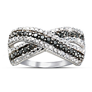 Sterling Silver Black And White Diamond Ring Forms A Kiss