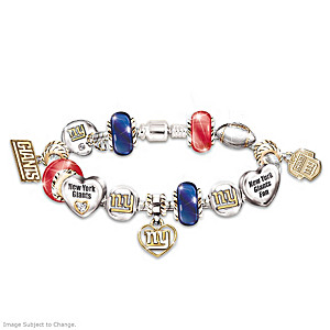 New York Giants Charm Bracelet With Swarovski Crystals