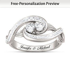 Personalized Topaz Ring With Heart-Shaped Stones And 2 Names