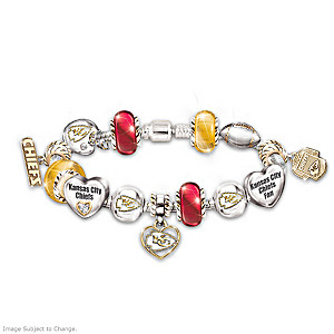Kansas City Chiefs Charm Bracelet With Swarovski Crystals