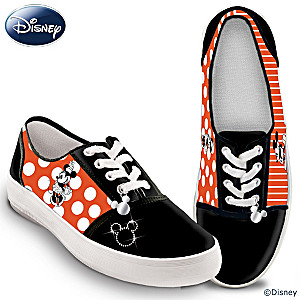 """Retro Mickey And Minnie"" Women's Canvas Sneakers"