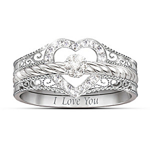 "Engraved ""I Love You"" 3-Band Stackable Diamond Rings"