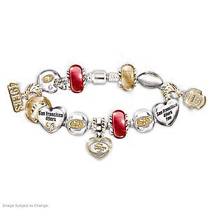 San Francisco 49ers Charm Bracelet With Swarovski Crystals