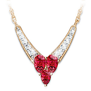 Contemporary Heart-Shaped Garnet And Diamond Necklace