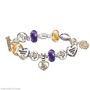 Minnesota Vikings Charm Bracelet With Swarovski Crystals