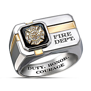 """For My Firefighter"" Engraved Men's Ring With Special Poem"