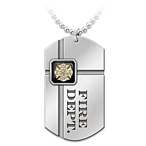 """For My Firefighter"" Pendant Necklace With Sentiment Card"