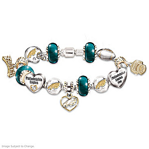 Philadelphia Eagles Charm Bracelet With Swarovski Crystals