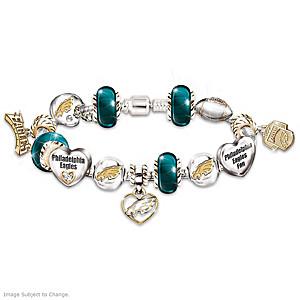 Philadelphia Eagles Charm Bracelet With Swarovski Crystals