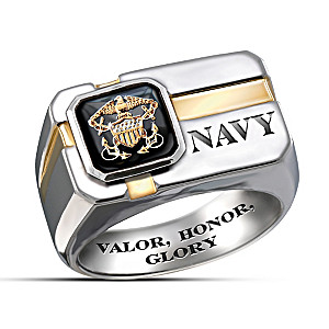 """For My Sailor"" Engraved Men's Ring With Special Poem Card"
