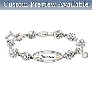 Personalized ID-Style Bracelet For Daughter With 11 Charms