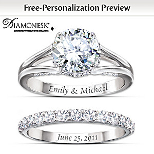 diamonesk bridal ring set with engraved names and date - Wedding And Engagement Ring Set