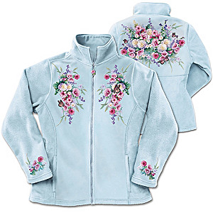 Lena Liu Floral And Butterfly Art Women's Fleece Jacket