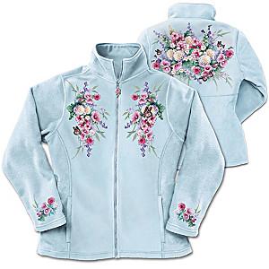Lena Liu Floral And Butterfly Art Women's Fleece Jacket