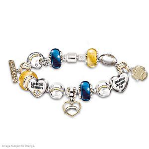 San Diego Chargers Charm Bracelet With Swarovski Crystals