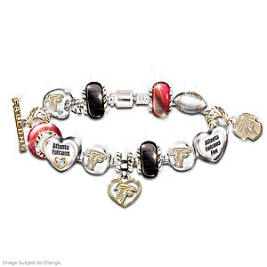 Atlanta Falcons Charm Bracelet With Swarovski Crystals