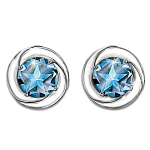 """Reach For The Stars"" Sterling Silver Blue Topaz Earrings"
