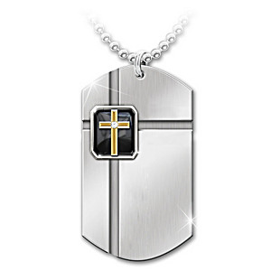 """The Lord's Prayer"" Diamond And Onyx Dog Tag Pendant"