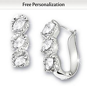 Genuine Birthstone And Diamond Cuff Earrings