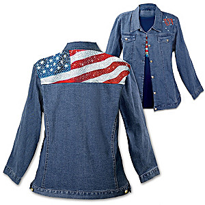 Patriotic Flag Women's Denim Jacket With Simulated Jewels