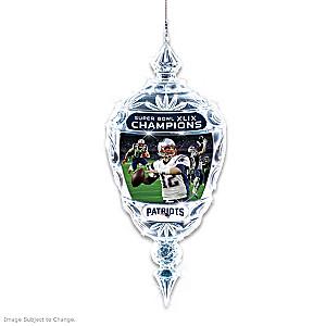 New England Patriots Super Bowl XLIX Champs Crystal Ornament