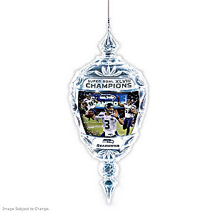 Seattle Seahawks Super Bowl XLVIII Champs Crystal Ornament