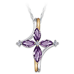 The Trinity Amethyst And Diamond Sterling Cross Necklace