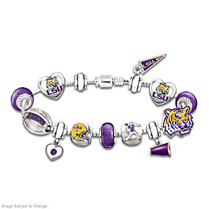 LSU Tigers Charm Bracelet With Swarovski Crystals
