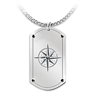 """""""Forge Your Path"""" Dog Tag Pendant For Son With Black Onyx"""